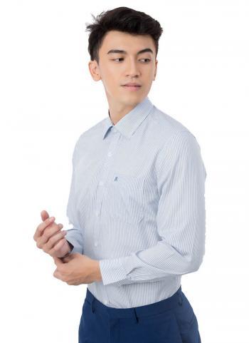 Áo sơ mi Khatoco A1MD468T1 Tailor fit trắng sọc xanh jean nhuyễn