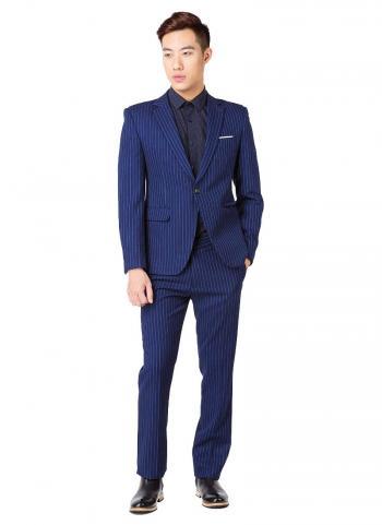 Bộ vest nam Fonto 065 kẻ sọc màu xanh đen