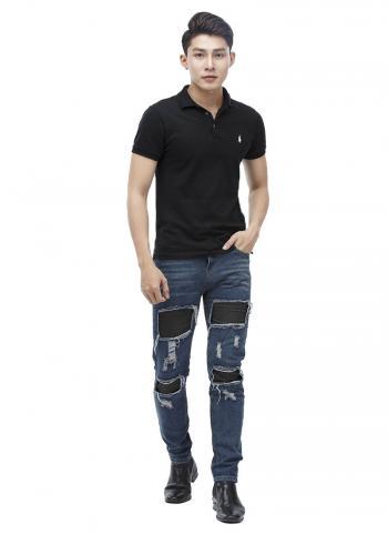 Quần jeans Titishop QJ158 màu xanh dương rách ống