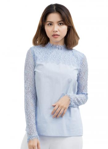 Áo kiểu G2000 cổ tròn tay dài phối ren sọc màu xanh da trời 8124301372