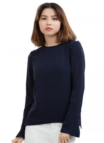 Áo kiểu G2000 cổ tròn tay dài loe màu xanh đen 8124302379