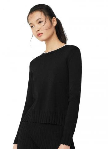 Áo sweater Mango 83040185 tay dài màu đen cổ viền trắng