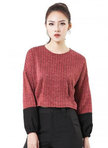 Áo len Crop-top HeraDG WAK17027 kẻ đỏ gạch