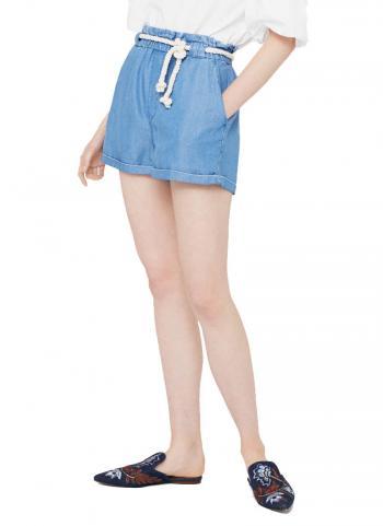 Quần shorts Mango 13023045 lưng thun phối dây buộc màu xanh da trời