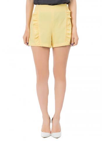 Quần shorts RAKU RAKU phối viền bèo màu vàng