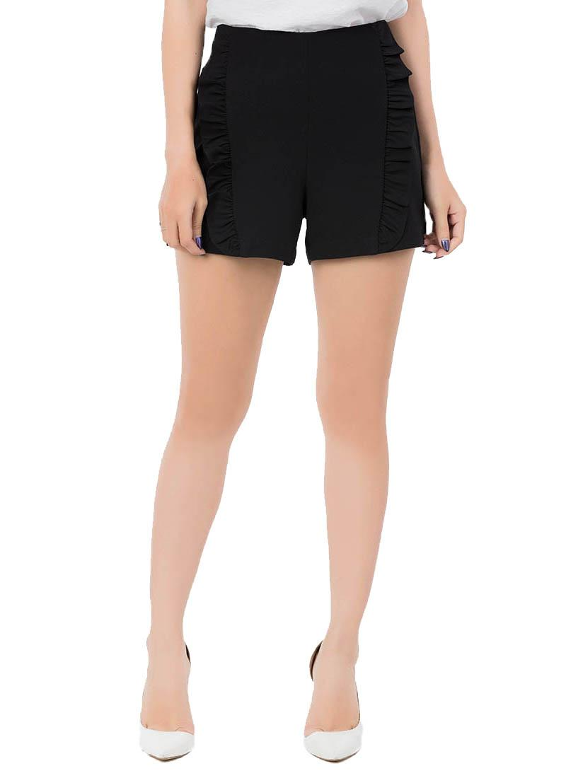 Quần shorts RAKU RAKU phối viền bèo màu đen