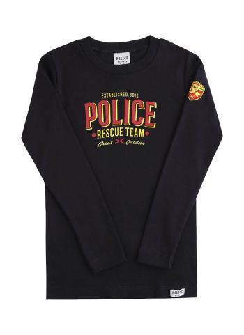 Áo thun bé trai Police K083 đen tay dài in chữ POLICE