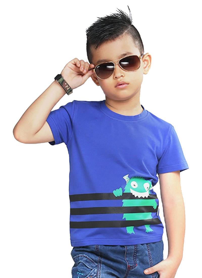 Áo thun bé trai YF xanh dương họa tiết Monster
