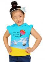 Áo thun bé gái YF tay con phối mũ in hoa màu xanh da trời