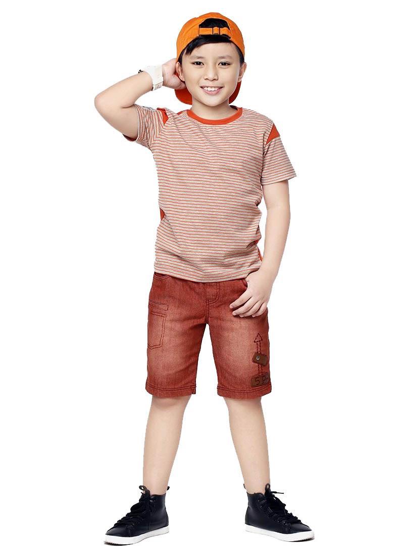 Quần jeans bé trai YF thêu mũi tên màu nâu đỏ