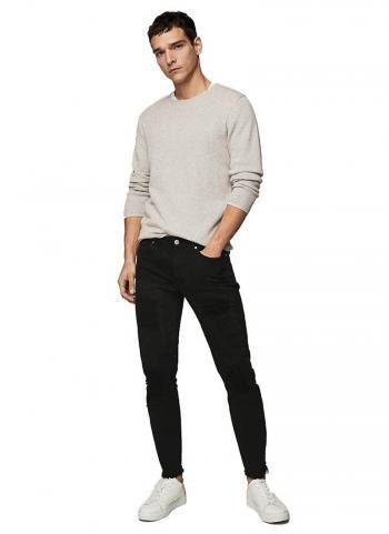 Quần jeans Mango 24095732 Skinny fit wash rách màu đen